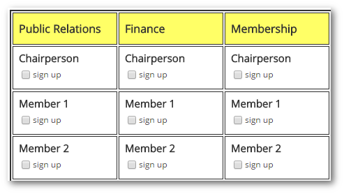 Committees  Committee Sign Up Sheet Template
