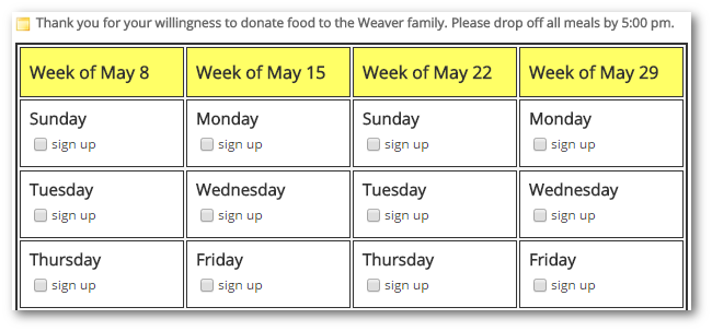 Meal Donations  Committee Sign Up Sheet Template